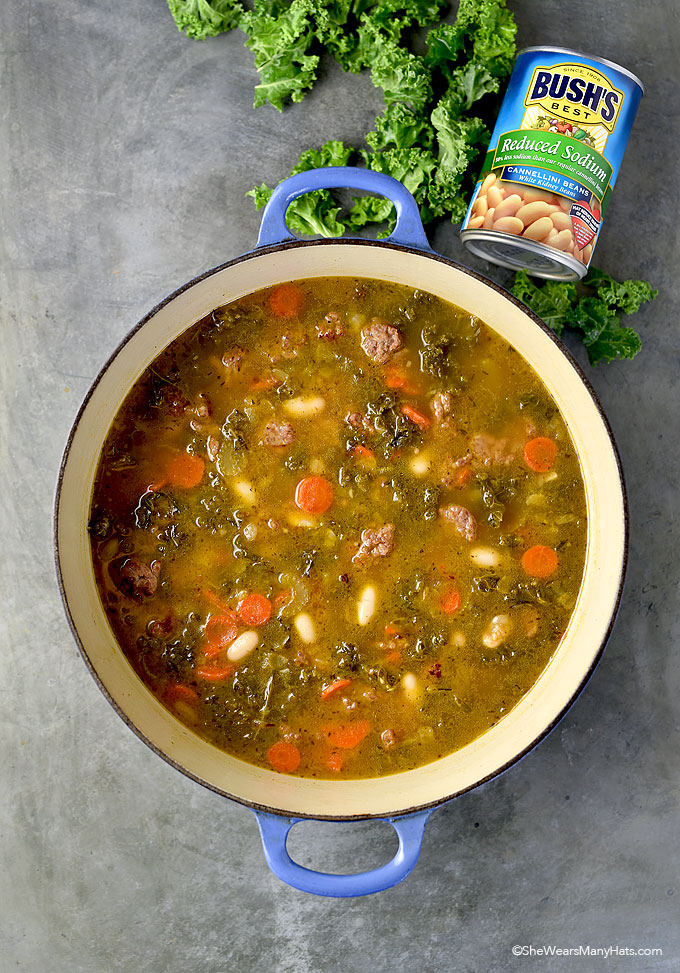 Kale, Sausage and White Bean Soup Recipe | shewearsmanyhats.com