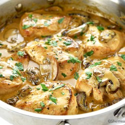 Chicken Breasts with Mushroom Cream Sauce Recipe