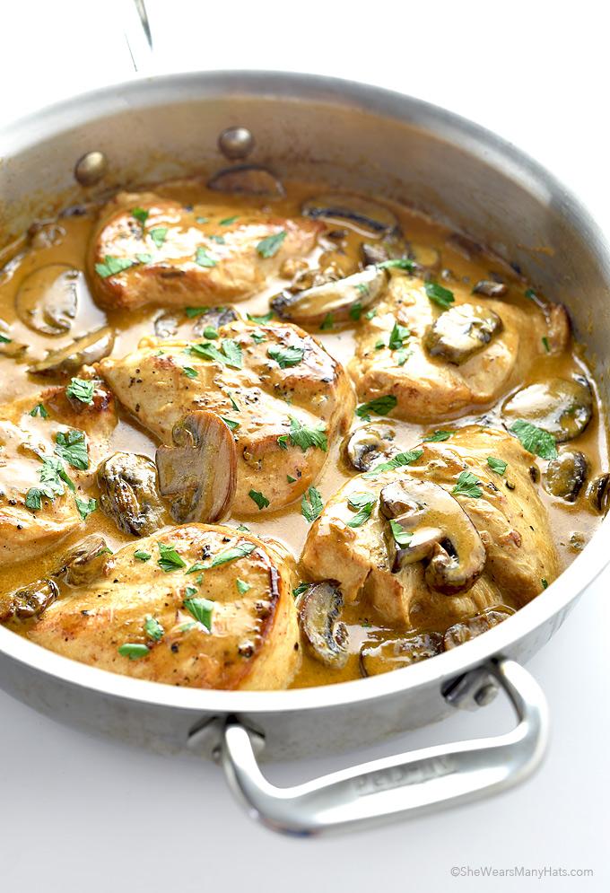 Chicken Breasts with Mushroom Cream Sauce Recipe | shewearsmanyhats.com