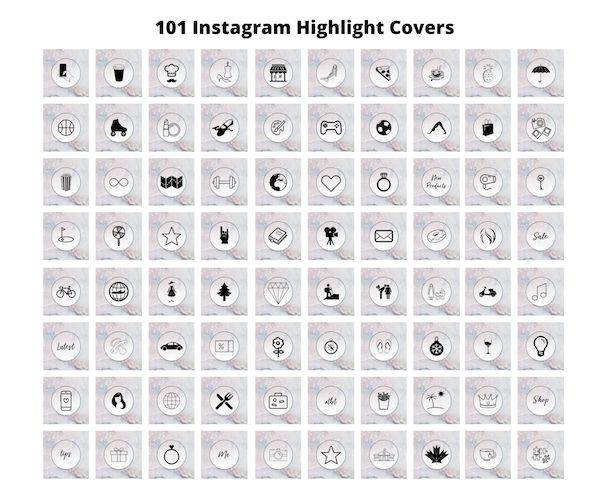 Instagram Highlight Covers Marble Purple