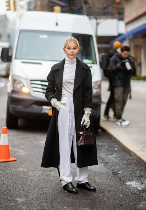 Caroline Daur keeping it simple in black and white at NYFW