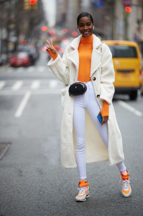 Neon orange and cream and unexpected fashion combination @ NYFW