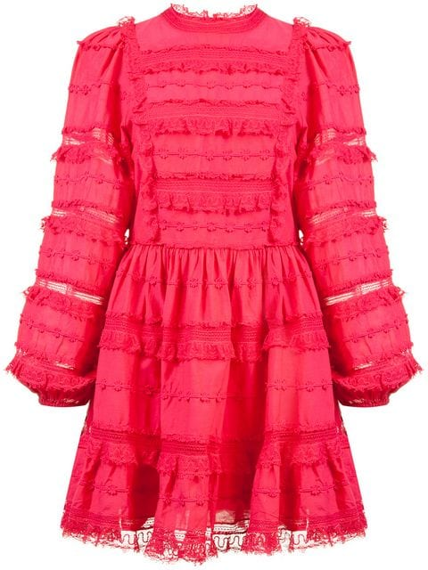Rose pink dress with petite ruffles and lace