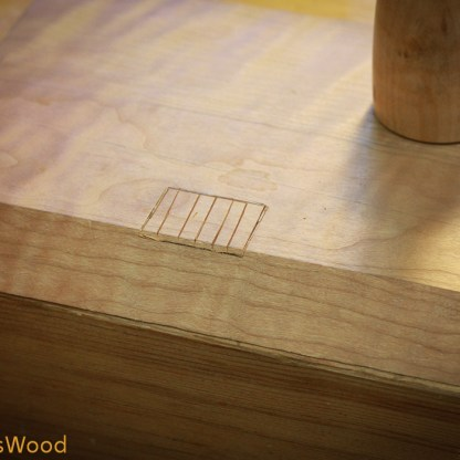 First I laid out the hinge with a marking knife and scored the waste with my chisel.