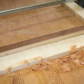 Pretty end grain on the shooting board .. and shavings for those who like shavings.