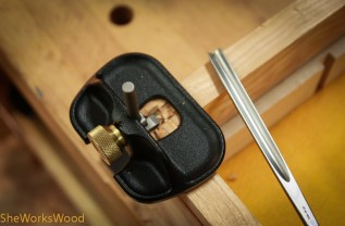 After removing the hinge, I used a router and carving gouge to remove the waste inside the pencil/marking knife lines.