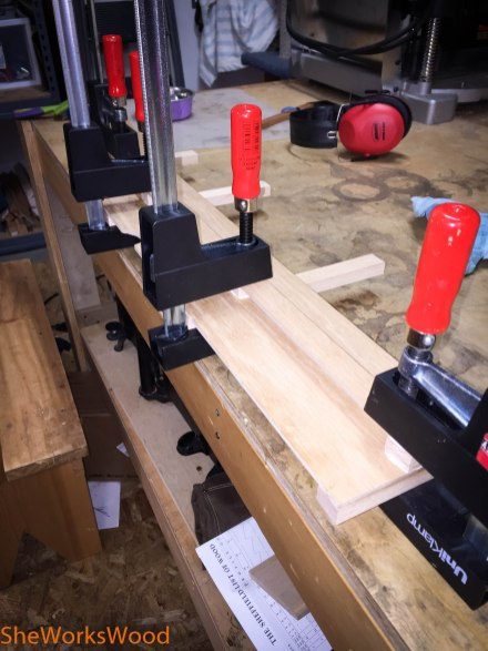 "Gluing up 1/4"" plywood."