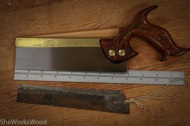 """Here's the saw with it's new plate. The plate is 8"""" long and is filed to cut dovetails."""
