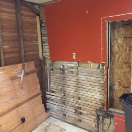 Plywood wall over old lathe.