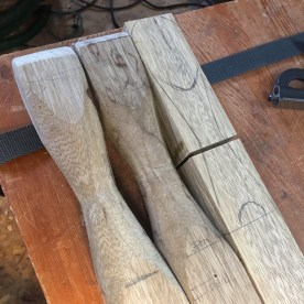 I used my table saw to make stop cuts at transitions. At the top of the leg where the hand grips are formed and above the foot.