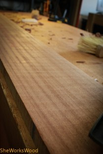 Jack plane scallops on straight grained Sapele. Wonder which wine you pair it with. (note to self: must eat a bit more dinner).