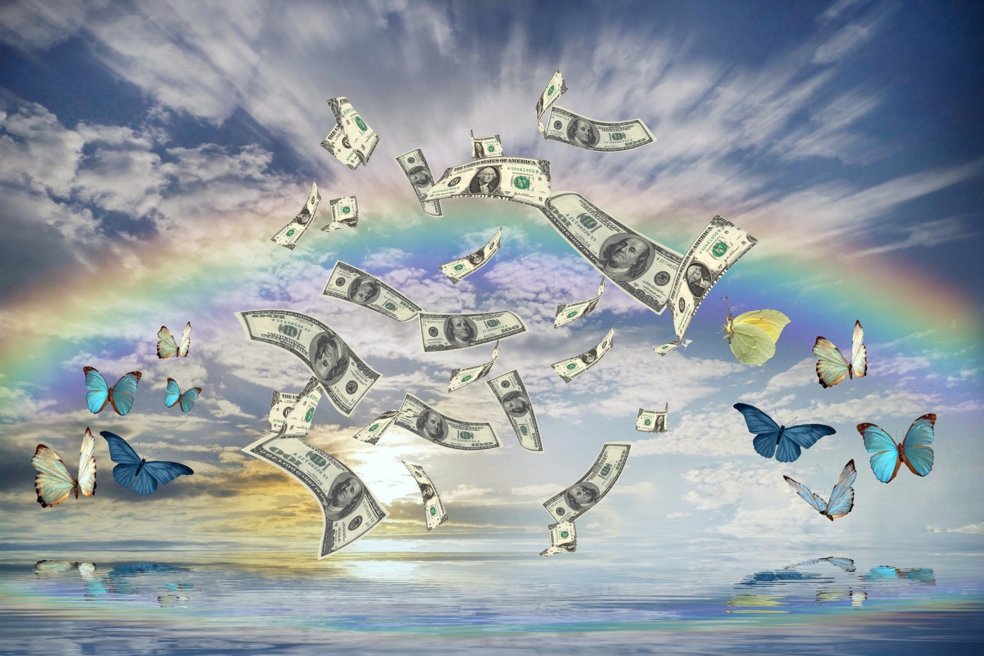 Photo of rainbow, butterflies, and dollar bills