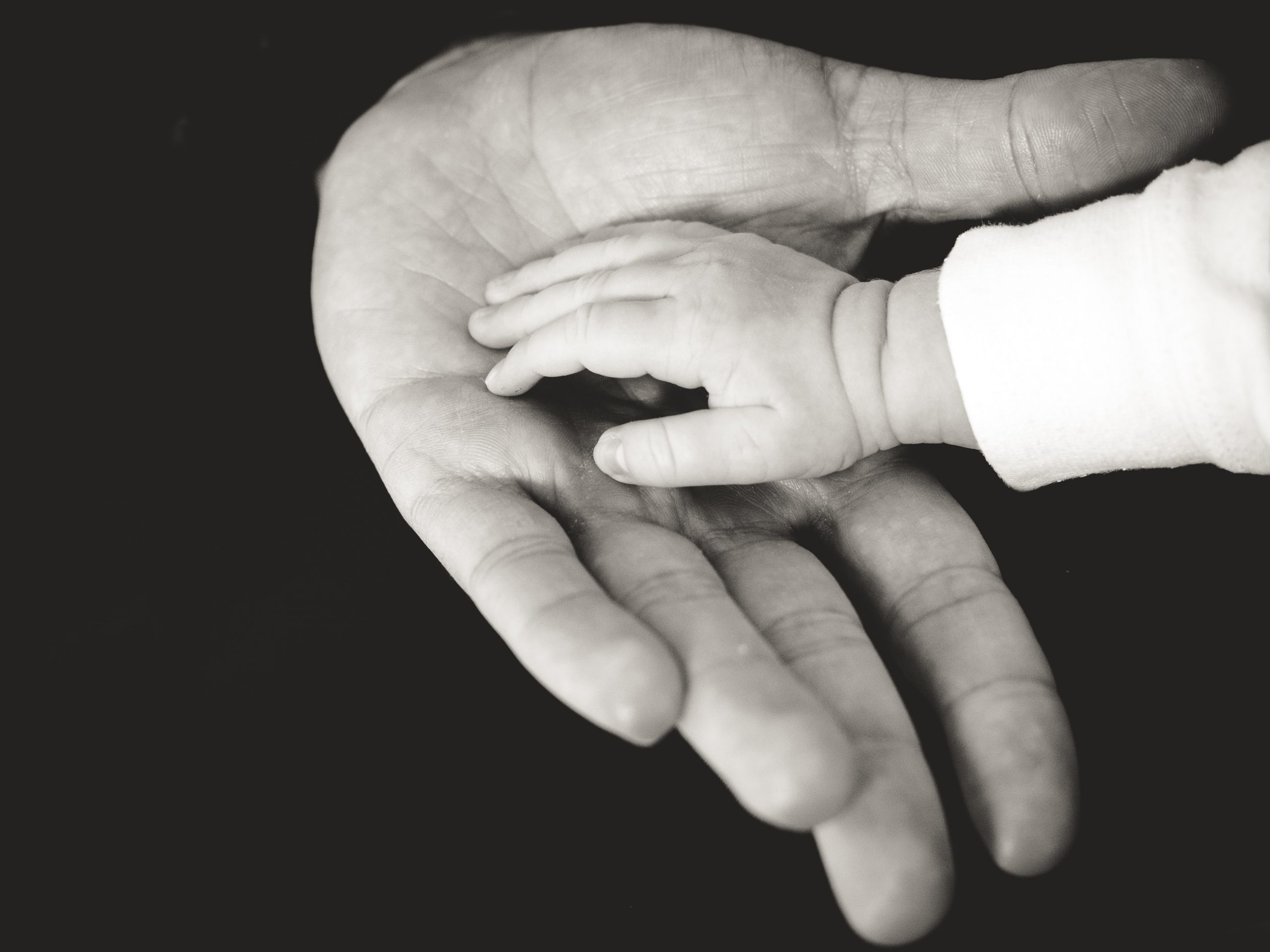 Small child's hand in adult's open hand