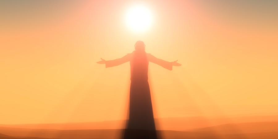 Озарённый солнечным светом силуэт мужчины с длинными волосами