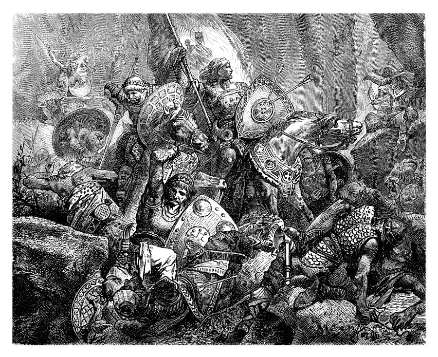 Гравюра, изображающая сражение между арабами и крестоносцами