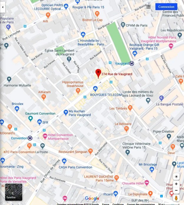 Carte Google du quartier du 274 rue Vaugirard 75015 Paris