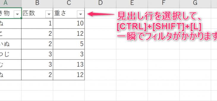 【エクセル】フィルタを一瞬で。[CTRL]+[SHIFT]+[L]