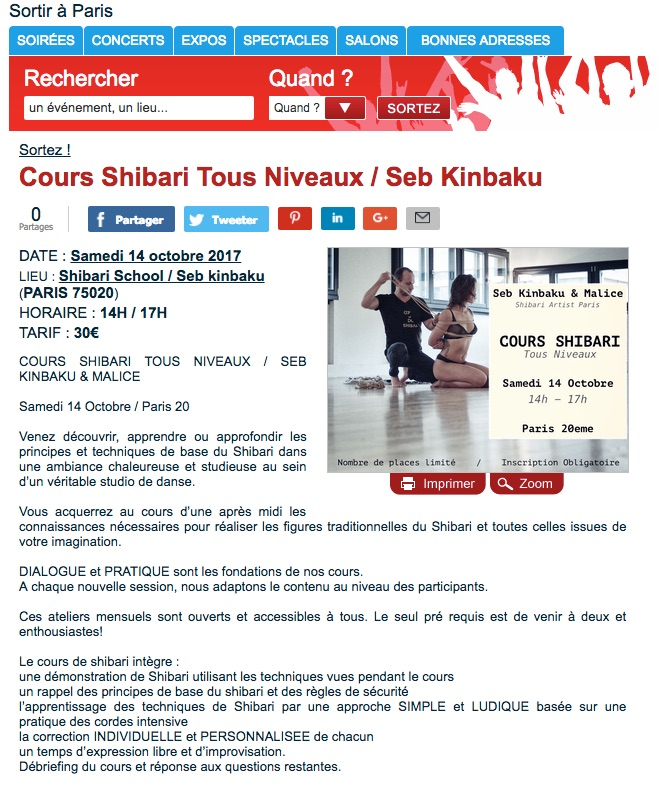 Atelier shibari paris octobre 2017