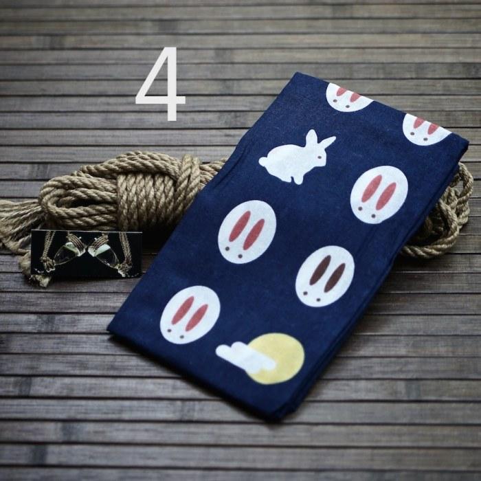 Tenugui japonais fantaisie lapins + Corde shibari jute