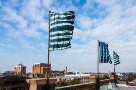 Warp and Weft, Flag Installation,4'x6', Shibori, Lillstreet Art Centre, Chicago, IL, 2013