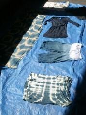Happy indigo clothing in the Sun