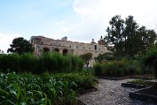 The back of Santo Domingo illuminated from the garden. Photo by Guo Jiang.