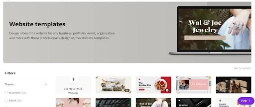 canva website templates