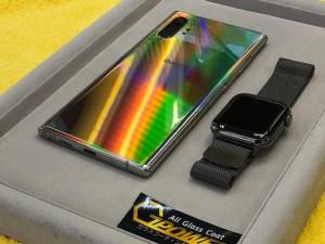 ギャラクシーNote10+とアップルウォッチをガラスコーティング