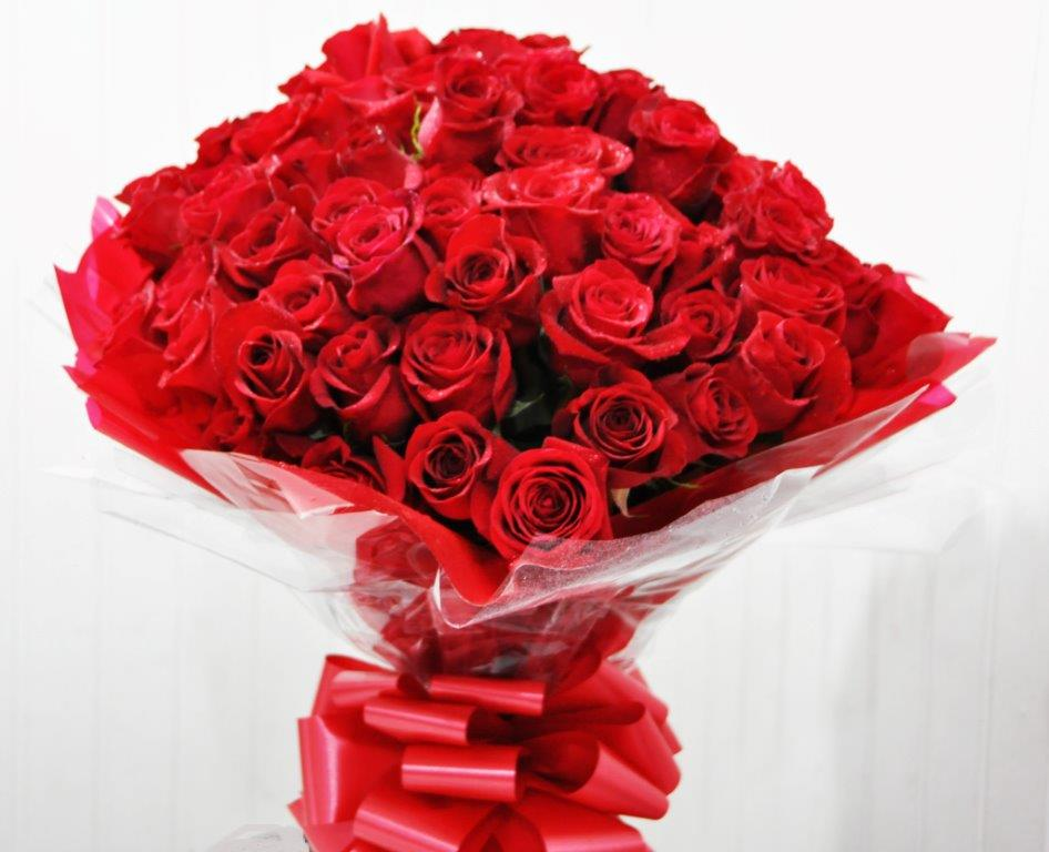 50 Red Roses Gift Wrapped Shields And Shields