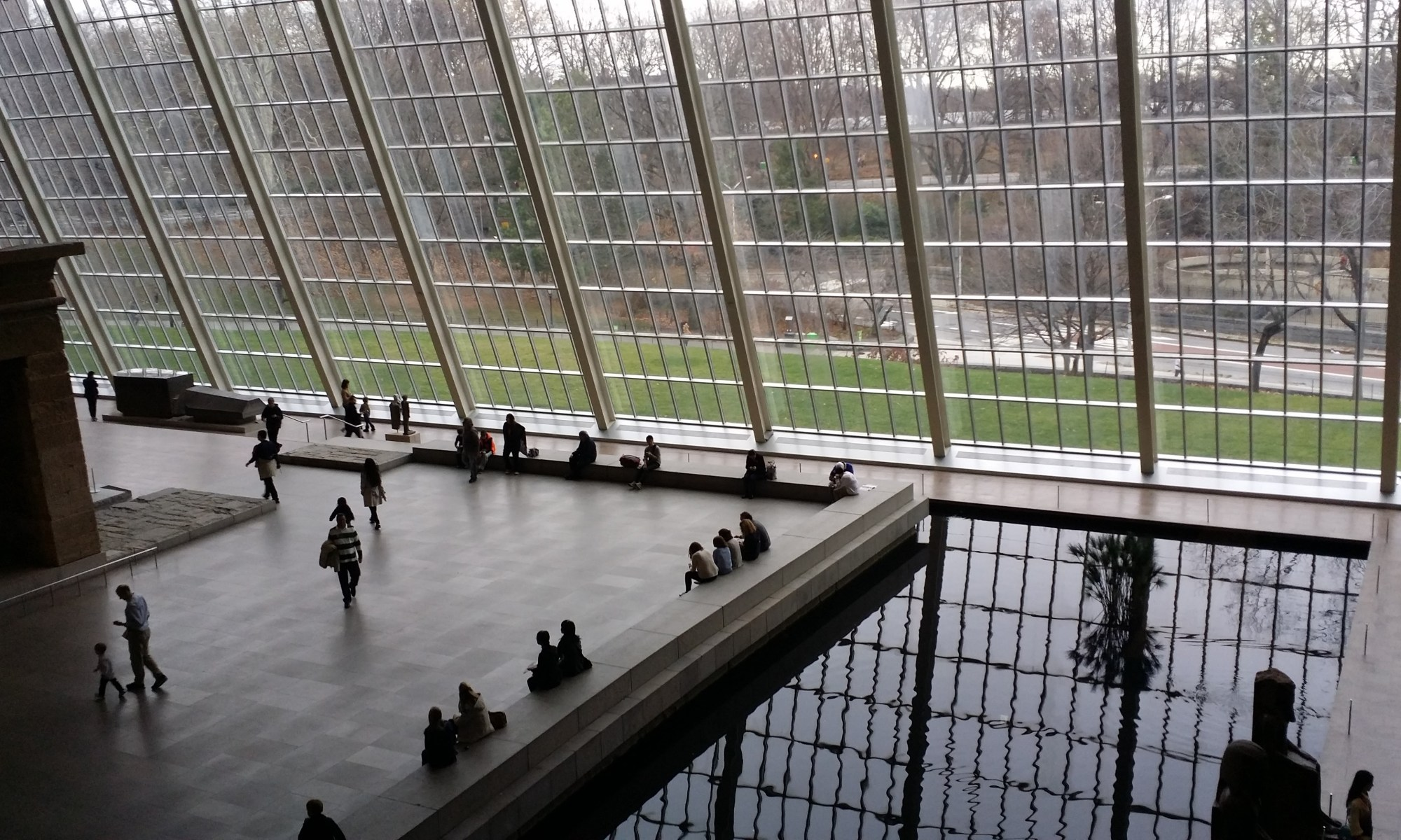 large room inside the Met with a reflecting pool and glass wall with greenery outside, photo taken by Janice Chan, SH/FT+SCAFFOLD (shiftandscaffold.com)