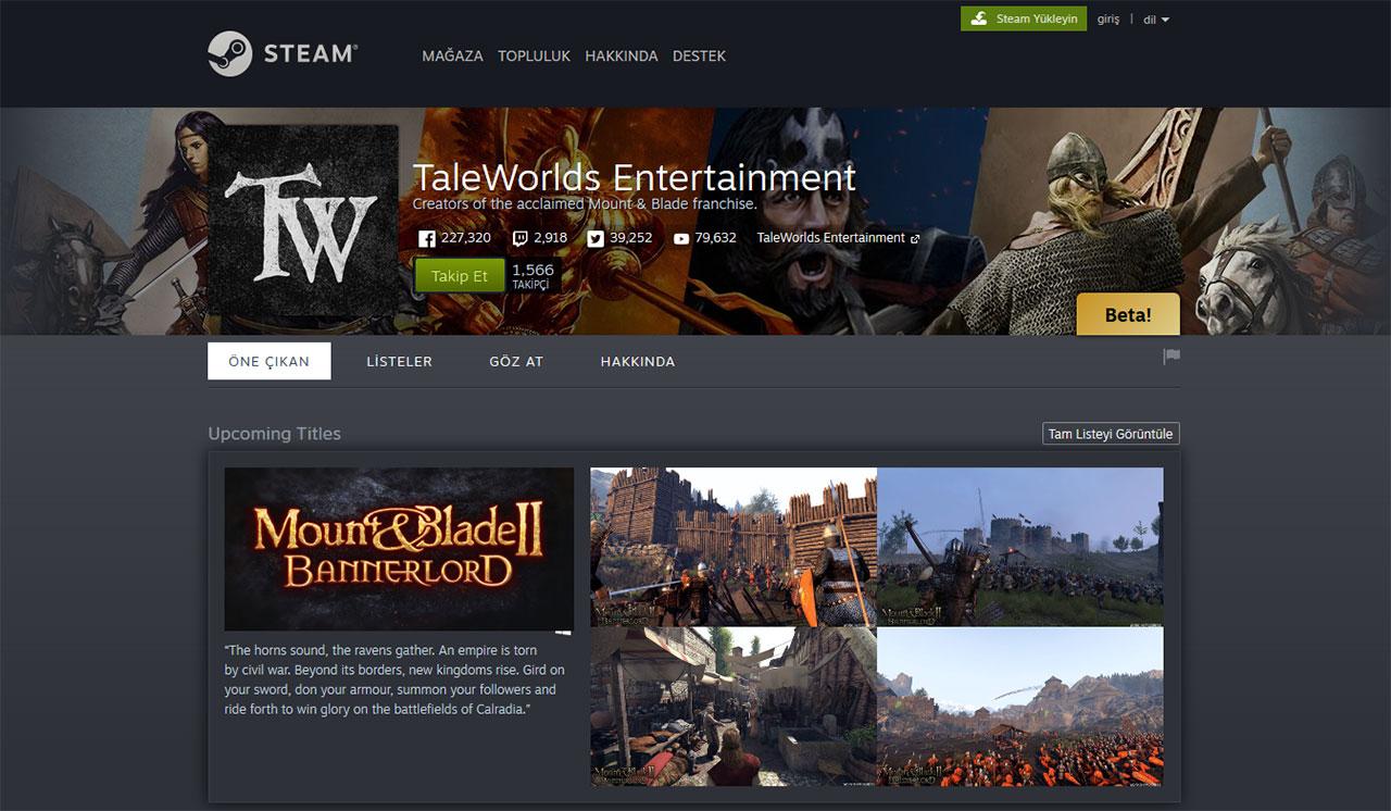 Taleworlds Steam geliştirici sayfası açıldı!