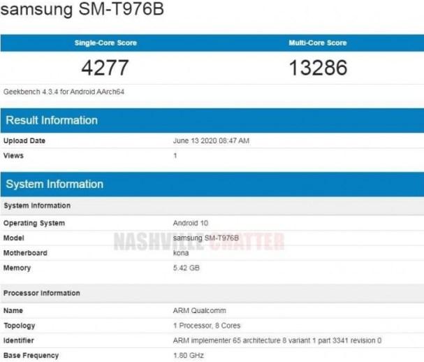 Galaxy tab s7 plus özellikleri, Geekbench skoru