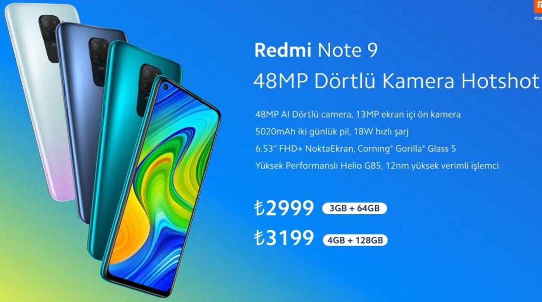Redmi Note 9 Türkiye fiyatı - Redmi Note 9 fiyatı