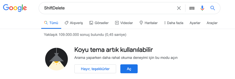 Google karanlık tema