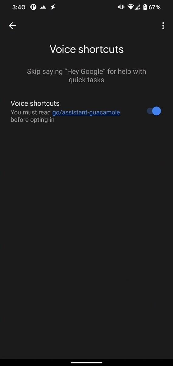 google asistan sesi kısayollar