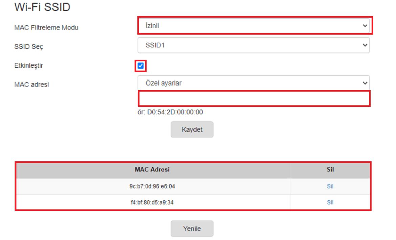 mac adresi engelleme, mac adresi filtreleme