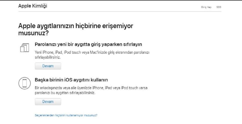 iCloud şifre sıfırlama