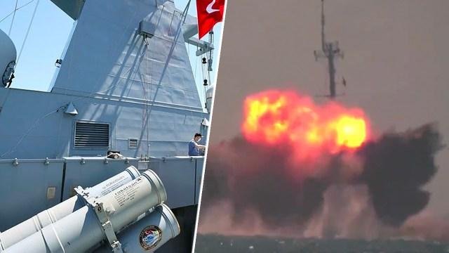 Atmaca füzesi ilk kez bir gemiyi vurdu
