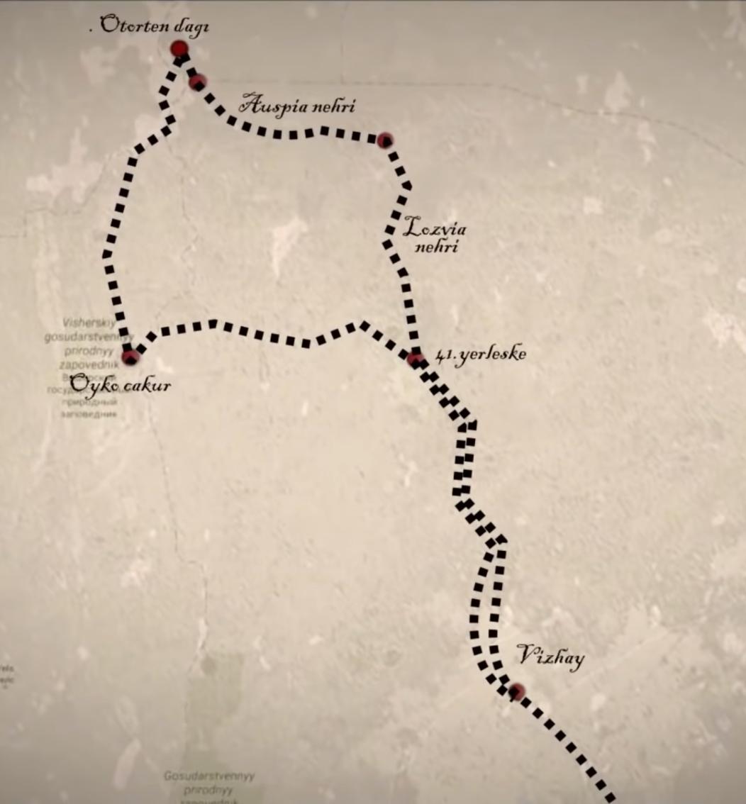 Dyatlov geçidi haritası