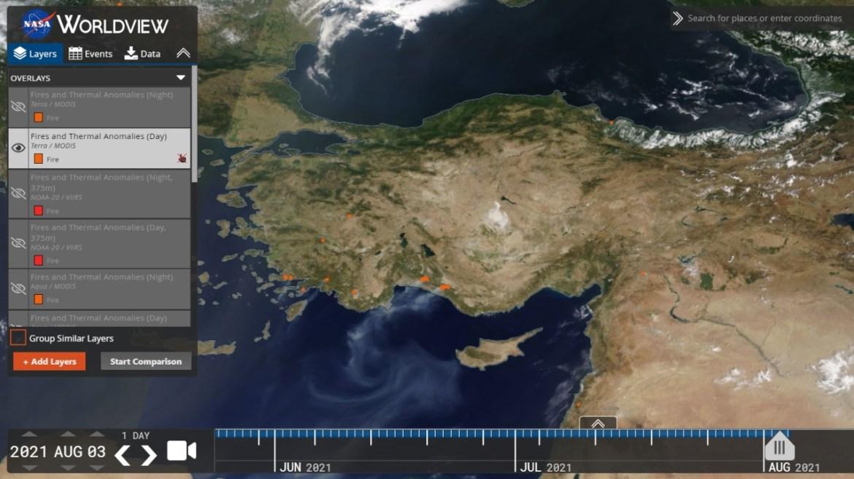 NASA worldview aracı orman yangınları haritası