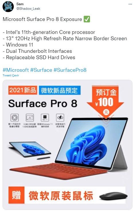microsoft surface pro 8 özellikleri