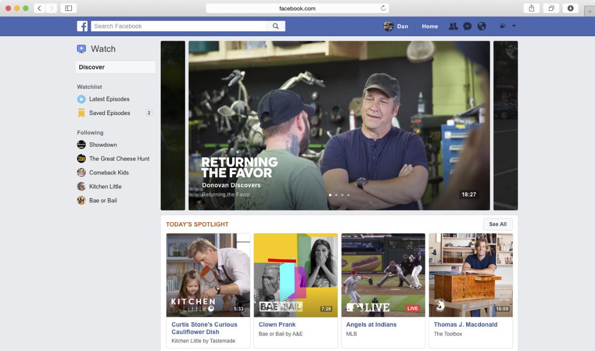 facebook televisão
