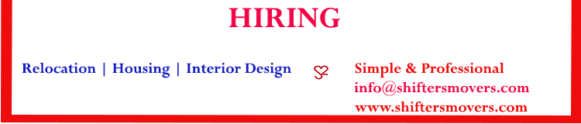 Shifting and Moving Job Opportunities, interior design professionals, relocation team, sales executives, housing team