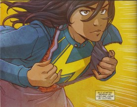 Transitioning into her Ms. Marvel costume.