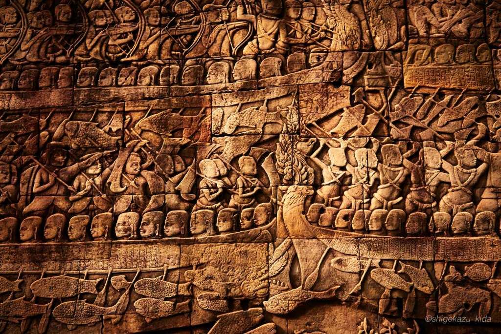 Angkor(アンコール)遺跡群にあるAngkorThom(アンコール・トム)のBayon(バイヨン)のレリーフ
