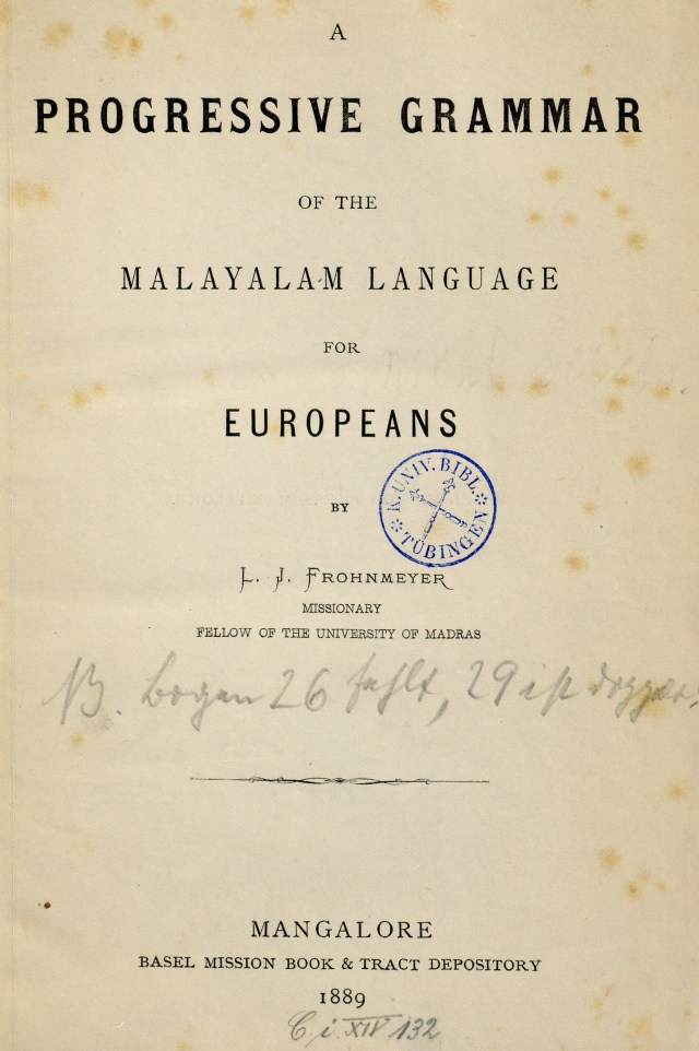 1889 - A progressive grammar of the Malayalam language for Europeans
