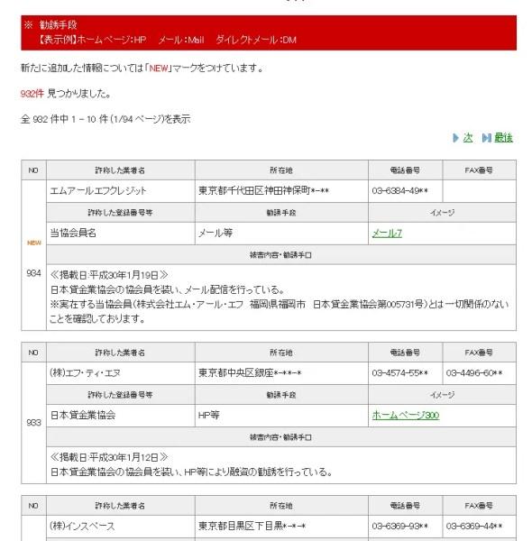 日本貸金業協会「悪質業者の検索」