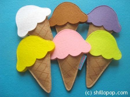Conjunto de casquinhas de sorvete de feltro Tutorial