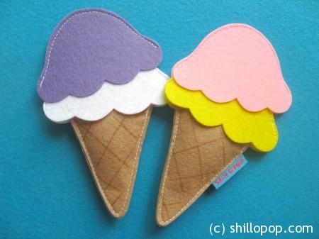 Conjunto de colheres de sorvete de feltro Tutorial