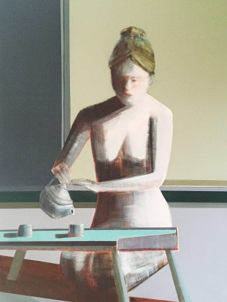 "Artist Shilo Ratner, ""Mindfulness of Tea"", 48"" x 36"", Oil Paint on Panel"